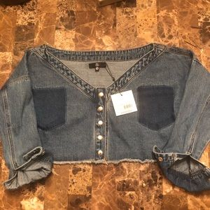 Misguided Denim NWT off shoulder top❗️